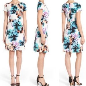 Ivanka Trump Watercolor Floral Textured Dress